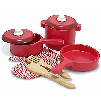 Melissa & Doug Wooden Play Kitchen Accessory Set Pot and Pans