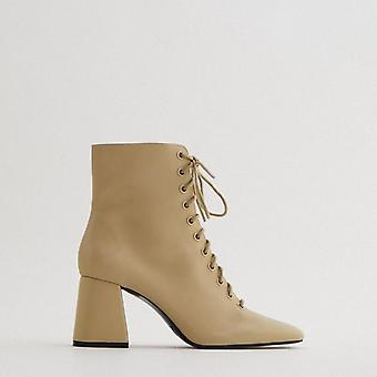 Autumn Camel Brown Lace Up With Side Zippers Boots Leather High Heel For Female