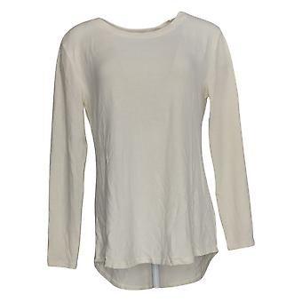 Lisa Rinna Collection Women's Sweater Hacci Knit Curved Hem Ivory A341720