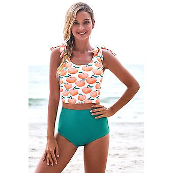 Print Shoulder Tie High Waist Tankini Swimsuit