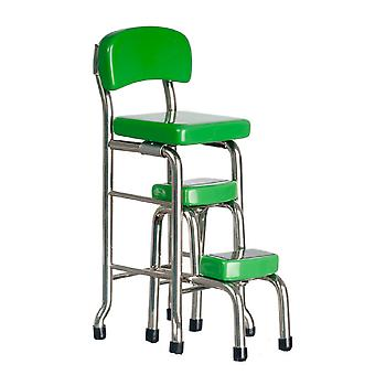 Dolls House Green Chrome Tall Chair Step Stool Miniature Kitchen Shop Meubles