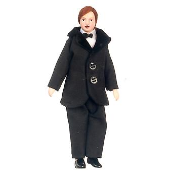 Dolls House Victorian Man Gentleman Father In Suit 1:12 Porcelain People