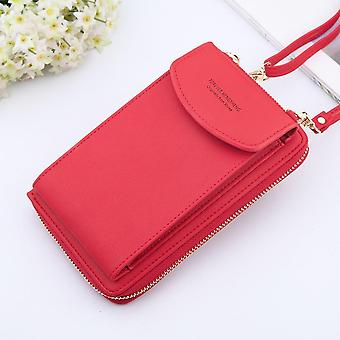 Kožený popruh přes rameno taška mobilní telefon velké držáky karet peněženka kabelka kapsy
