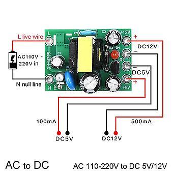 מיני Ac-dc ממיר, Ac 110v, 220v לDC 12v 0.2a + 5v לוח מודול