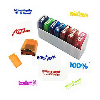 Colorful self-inking motivation school grading teacher stamp set and tray 8 piece