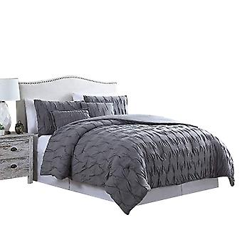 Bergen 5 Piece Queen Comforter Set With Puckered Pattern The Urban Port,Charcoal Gray