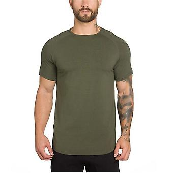 Men Cotton Short Sleeve Running T-shirt, Antrenament Training Tees Fitness T-shirt