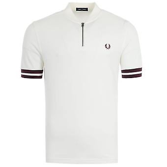 Fred Perry Tipped Cuff Zip Neck Polo Shirt - White