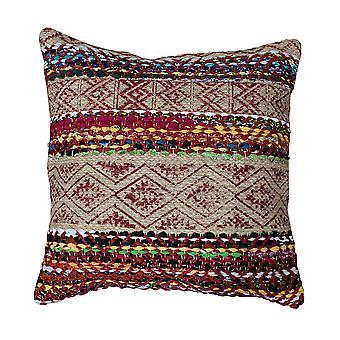 20 x 20 almohada de acento de yute de yute tejida a mano con estampado de bloque, marrón y rojo
