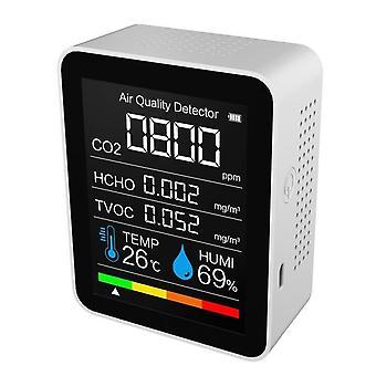Kannettava ilmanlaadun ilmaisin digitaalinen lämpötila kosteusanturi testaaja co2 hiilidioksidi-tvoc formaldehydi hcho -ilmaisin uusi