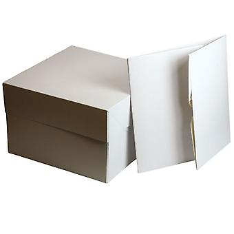 White Cake Boxes - 15&; (381 x 152mm sq.) - pojedynczy