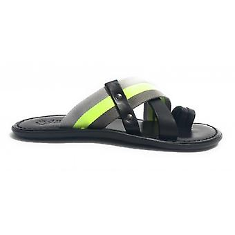 Men's Shoes Elite Cobbler Finger Skin and Canvas Black Grey Yellow Us17el34