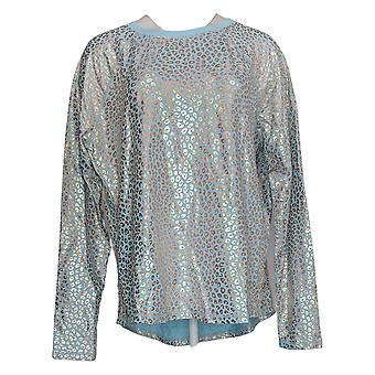 Zuda Women's Z Knit Printed Pullover With Button Detail Blue A389167