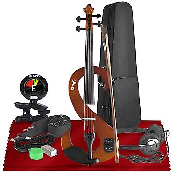 Stagg evn 4/4-size silent violin set with case  basic accessories bundle with tuner and cleaning kit, perfect for musicians and violinists ps61927