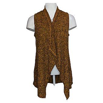 LOGO by Lori Goldstein Women's Sweater Knit Vest Black Gold A388963