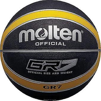 Gerui Official Black/Yellow Rubber Basketball - Size 5