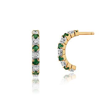 Gemondo 9ct Yellow Gold, 0,20 ct Emerald & 4pt Diamond halve Hoop stijl Earrings