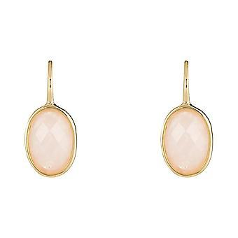 Orecchini in ottone dorato montati con un quarzo rosa - apos;Lisa-apos;