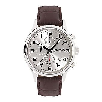Gigandet Reloj para hombres Cuarzo Rojo Toque Analógico Cronógrafo Pulsera Cuero Plata Marrón G51-003