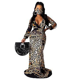 S leopar baskı v yaka tek parça kadın uzun kollu elbise cai562
