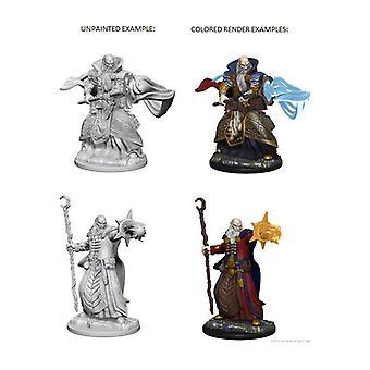 D&D Nolzurs underbara omålade miniatyrer 2x Mänsklig manlig trollkarl