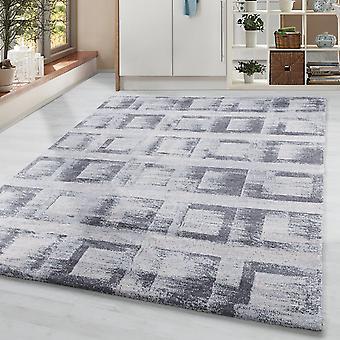 Pile corta soggiorno tappeto designer tappeto vintage motivo quadrati crema grigio
