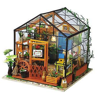 Robotime casa de muñecas en miniatura casa de muñecas con muebles de la casa de muñecas, regalo de luz para los niños adultos kathy's casa de flores