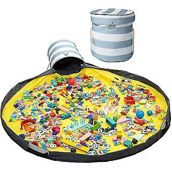 Organizador de almacenamiento de toy y jugar estera gran cesta de la cesta de la actividad (stripe)
