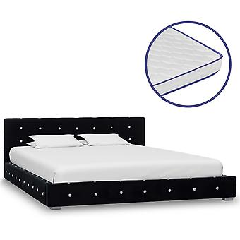 vidaXL bed with memory foam mattress Black Velvet 140x200 cm