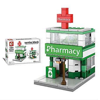 سيتي ستريت الصيدلة بناء كتل نموذج لعبة للأطفال هدية صغيرة،