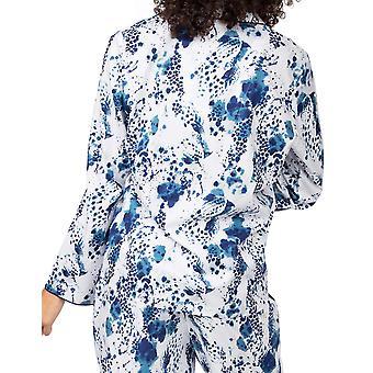 Cyberjammies Ellie 4864 Women's White Leopard Print Cotton Pyjama Top