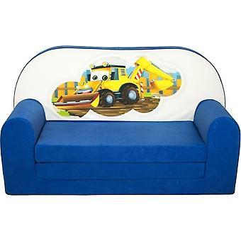 Divano letto per bambini - divano - blu scuro - materasso per ospiti - 85 x 60 - escavatore
