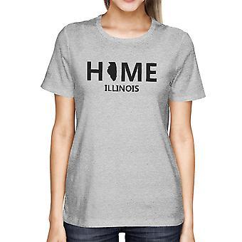 Hem IL statligt grå kvinnors T-Shirt US Illinois hemstad bomull Tee