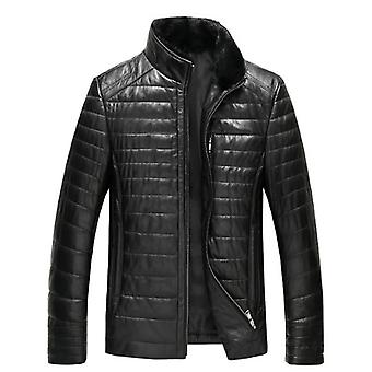 Mimigo Real Detachable Mink Collar Men's Natural Sheepskin Leather Jacket With Warm Down Inside Long Sleeves Genuine Lambskin Coats For Male