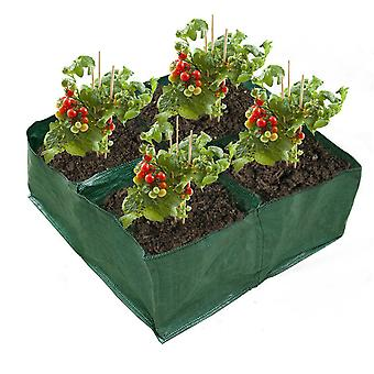 Fabric Raised Planting Bed Garden Grow Bags With 4 Compartments