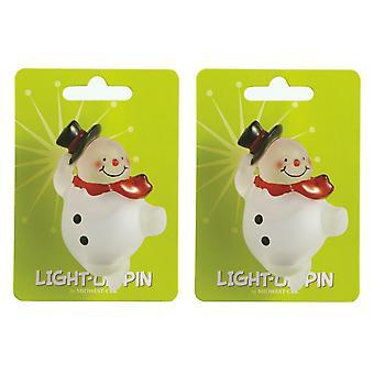 Oplicht Snowman Winterpret Pins Set van 2