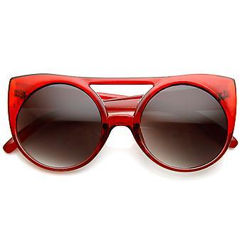 Womens übergroße runde Kreis Double Bridge Cateye Sonnenbrillen