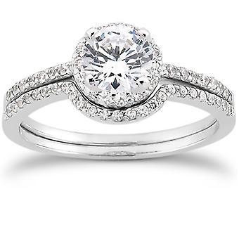 1/2ct Pave Diamond Halo Engagement Wedding Ring Set 14K White Gold