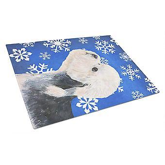 Dandie Dinmont Terrier vinter snefnug ferie glas skære bord store
