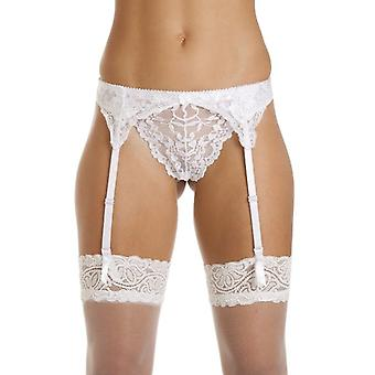 Silky White Narrow Lace Suspender Belt
