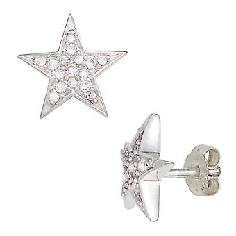 Ear plug star rhodium-plated 925 Sterling Silver earrings with cubic zirconia