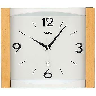 5616 AMS pared radio reloj controlado de radio pared reloj analógico: madera de haya sólida con el vidrio