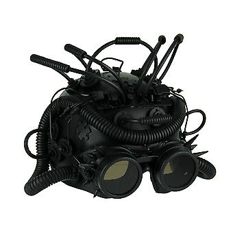 Black Steampunk Cosplay Half Mask With Spiked Goggles