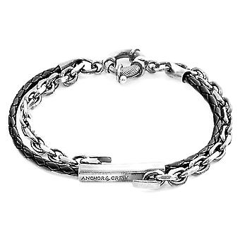 Anchor & Crew Coal Black Belfast Silver And Braided Leather Bracelet