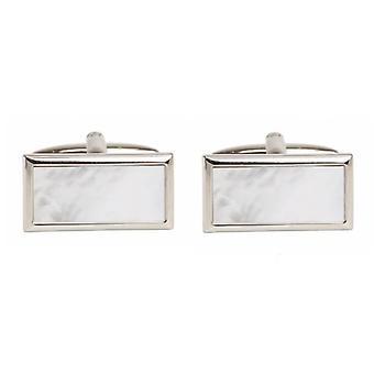 David Van Hagen Mother of Pearl Wide Rectangle Cufflinks - Silver