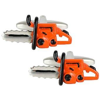 Zennor Chainsaw Cufflinks - Orange/Silver