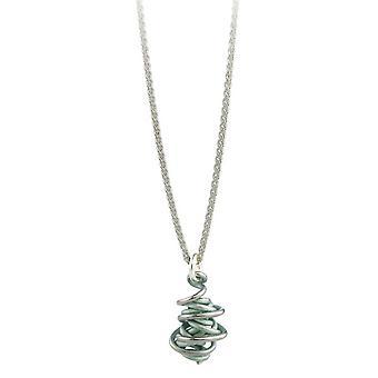 Ti2 Titanium Chaos Drop Pendant and Silver Necklace - Aqua Blue