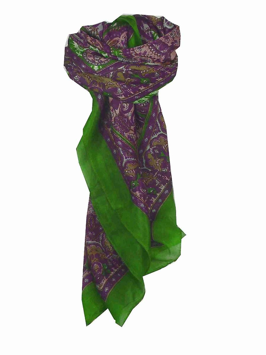 Mulberry Silk Traditional Square Scarf Ravali Wine & Citron Vert by Pashmina & Silk