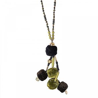 Marie Mero Pom Pom Pendant Beaded Long Necklace