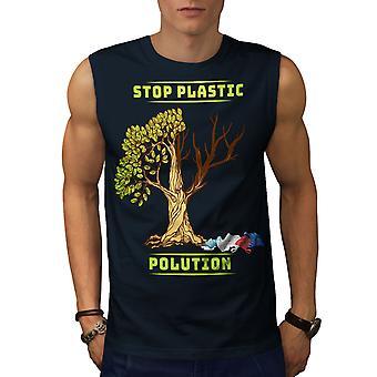 Nature Polution Earth Men NavySleeveless T-shirt   Wellcoda